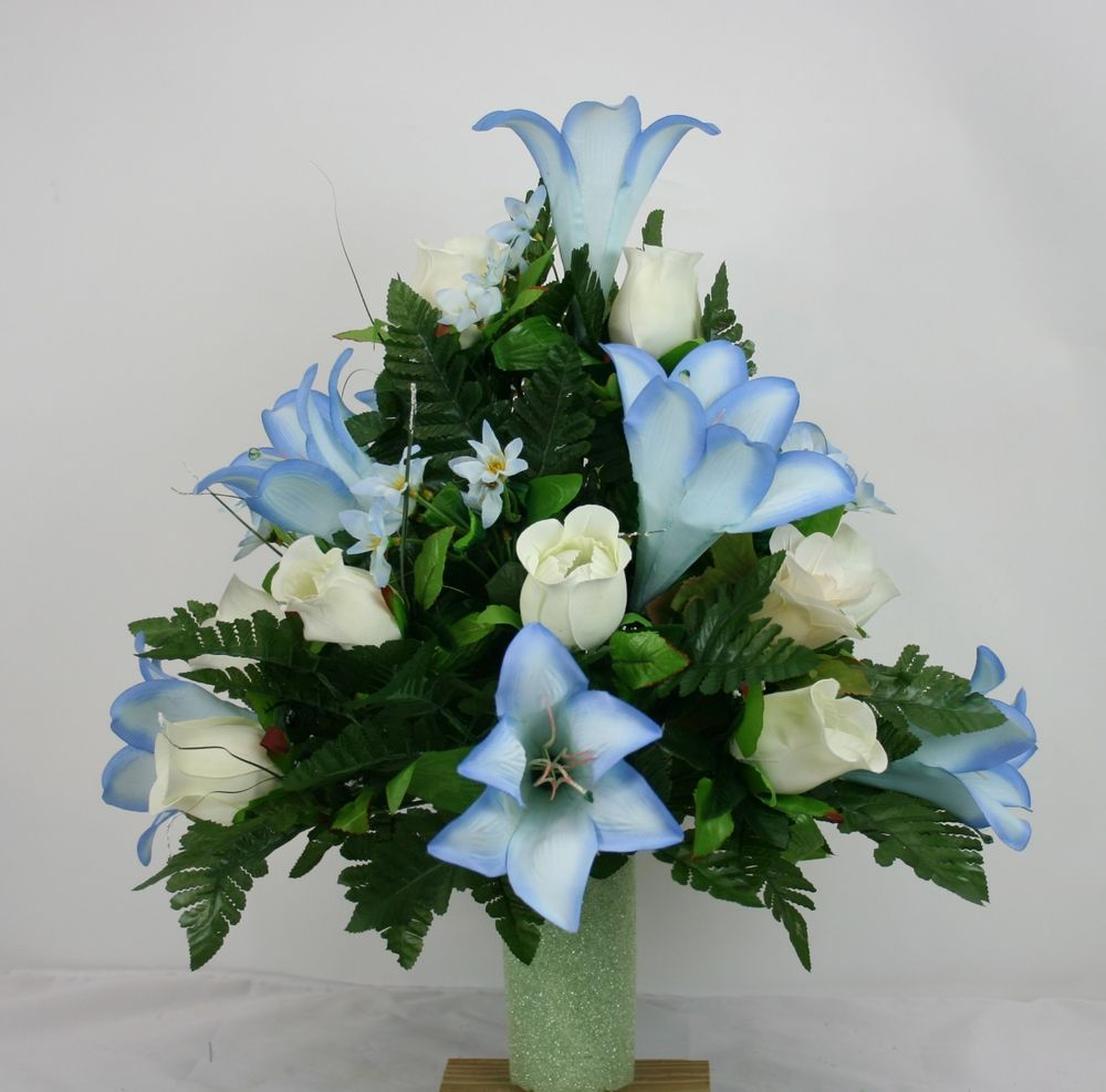 Spring cemetery vase flower arrangement featuring white roses spring cemetery vase flower arrangement featuring white roses baby blue lilies reviewsmspy