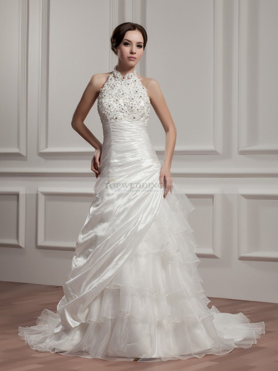 High neck strapless wedding dress with beads and applique for Wedding dress with high collar