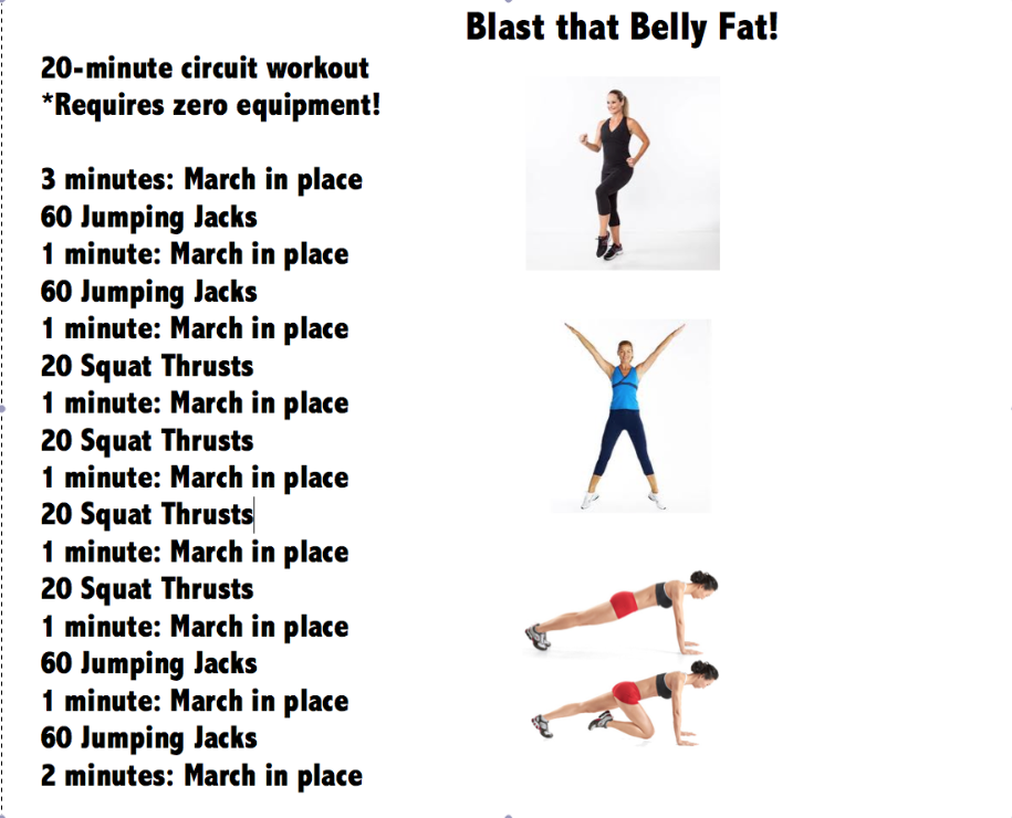 blast that belly fat  20 minute circuit workout from