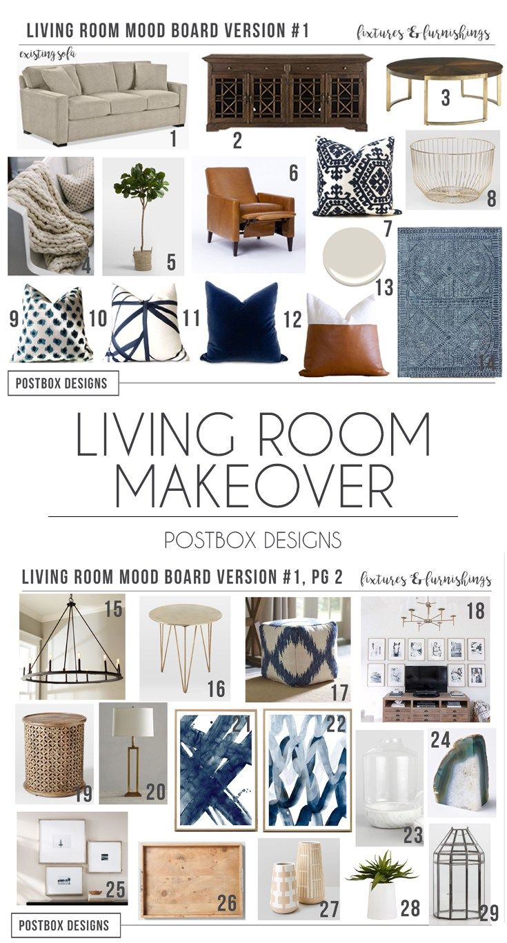 Postbox Designs E Design Traditional Living Room Makeover Neutral Family With Pops Of Navy Online Interior