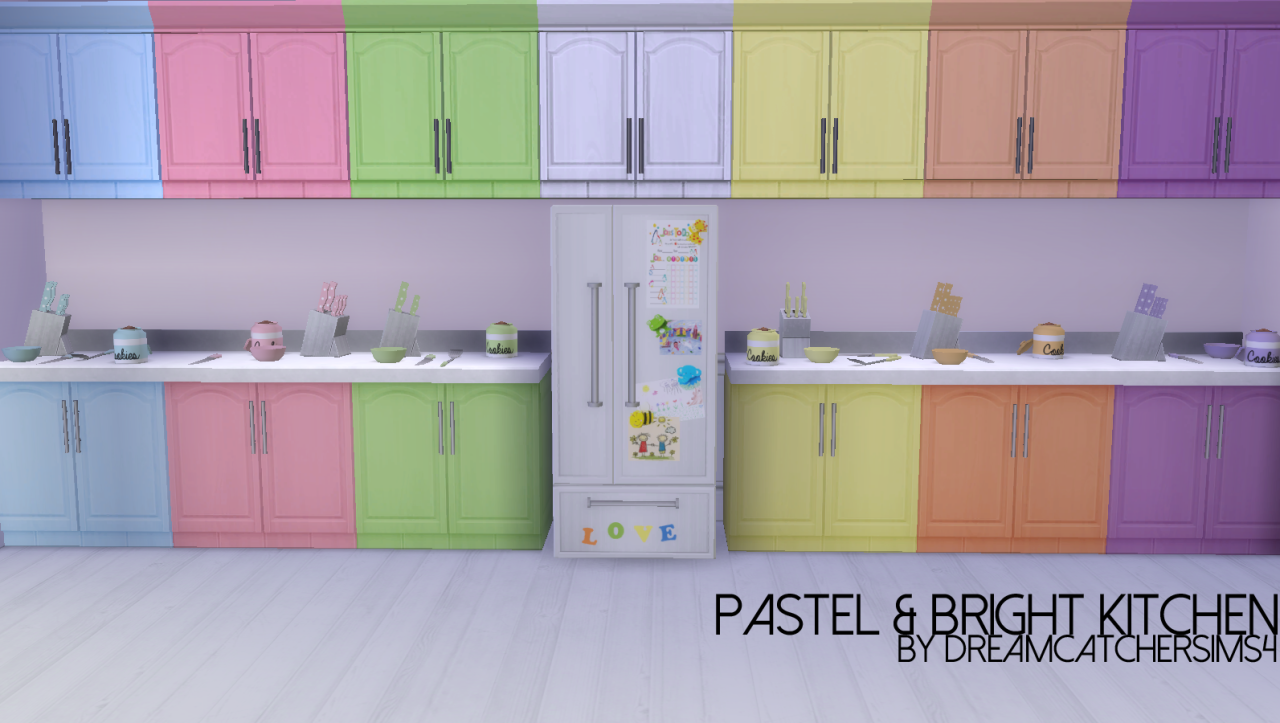 Pastel bright kitcheni got a little bit kitchen recolour for Cc kitchen cabinets