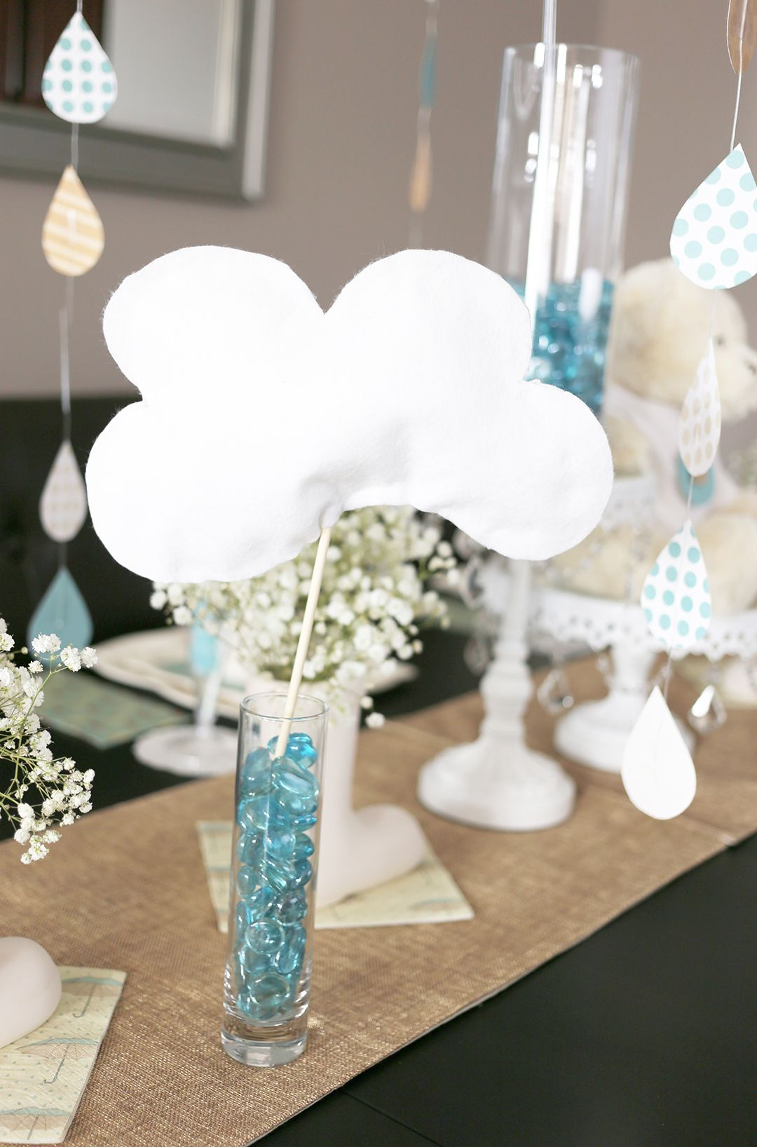 Light blue wedding decoration ideas  White Felt Clouds party decorations   Party Themes  Baby Showers