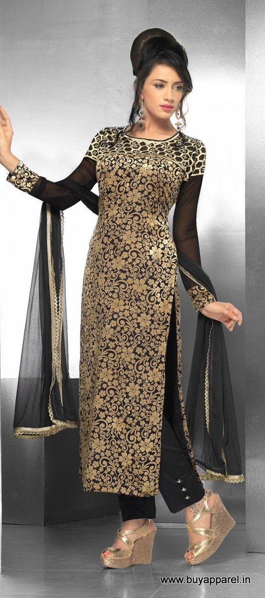 a388c31375 Pakistani Pent Style Long Straight Cut Black Suit Buy Apparel ...