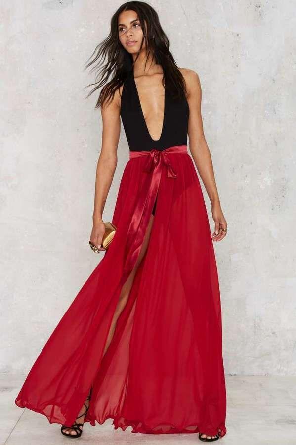 ee0f72f1b Factory Jump Maxi Sheer Skirt - Red   Spring Inspiration   Sheer ...