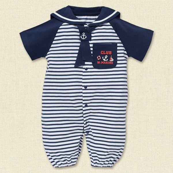 8d6cd8a7bfde1  EFD セーラー風半袖コンビドレス(マリンボーダー) 新生児50-60cm  新生児  西松屋