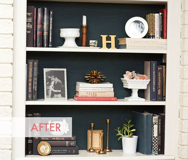 foam board in back of shelves to add temporary color to bookcase rh pinterest at