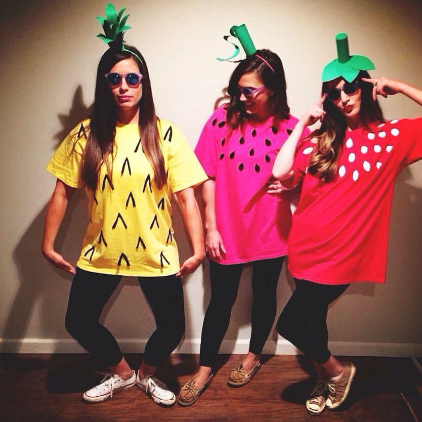 Follow Linseykfulton Diy Fruit Costumes We Bought Plain Colored Shirts From Hobby Lobby 3 99 Cut Out Felt Seeds 0 75 The Leaves Were Green Card Stock
