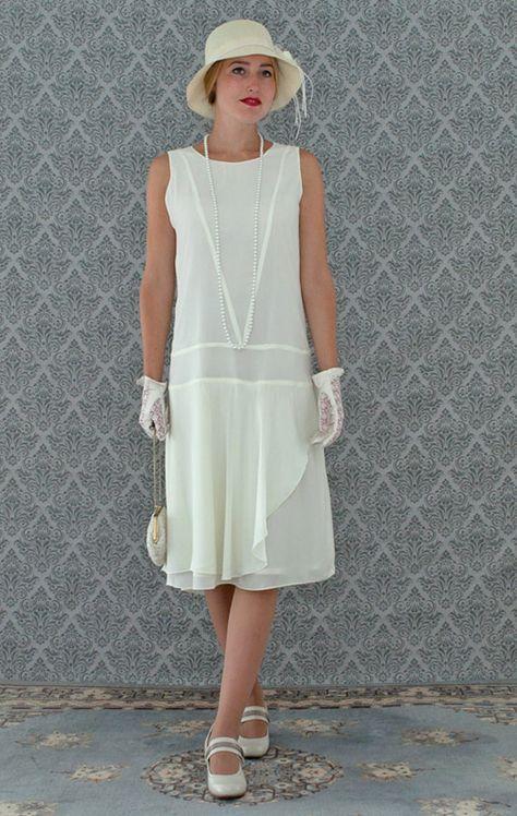 Cream chiffon flapper dress with a ruffled skirt detail, cream Great ...