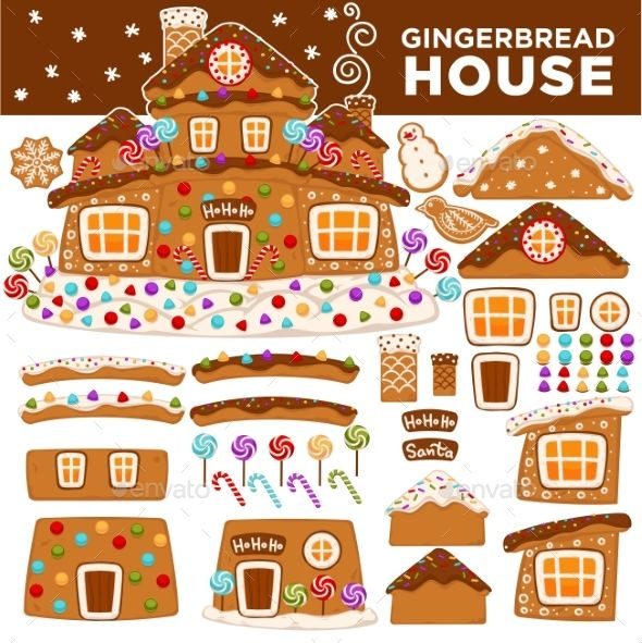 christmas gingerbread cookie house constructor icons vector rh pinterest com