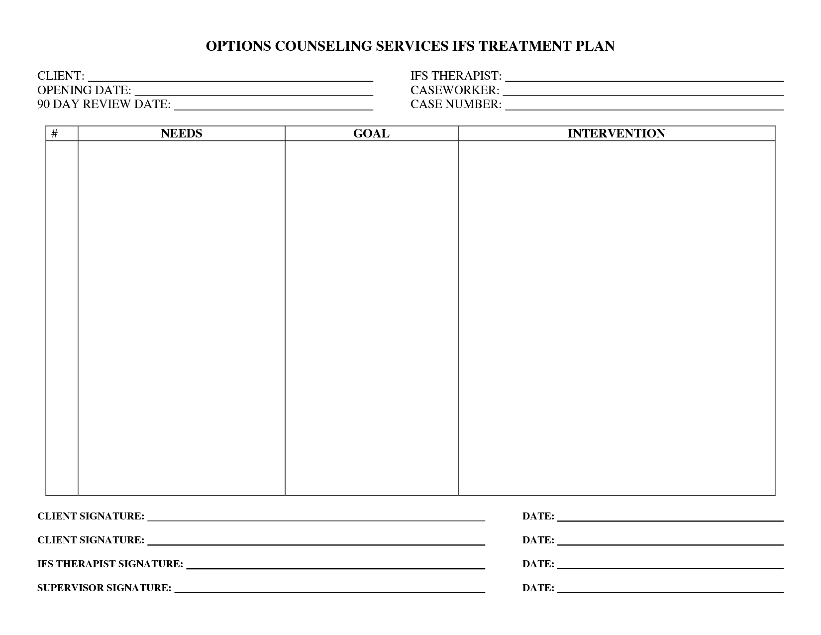 Treatment Plan Forms Mental Health Printable  Google Search