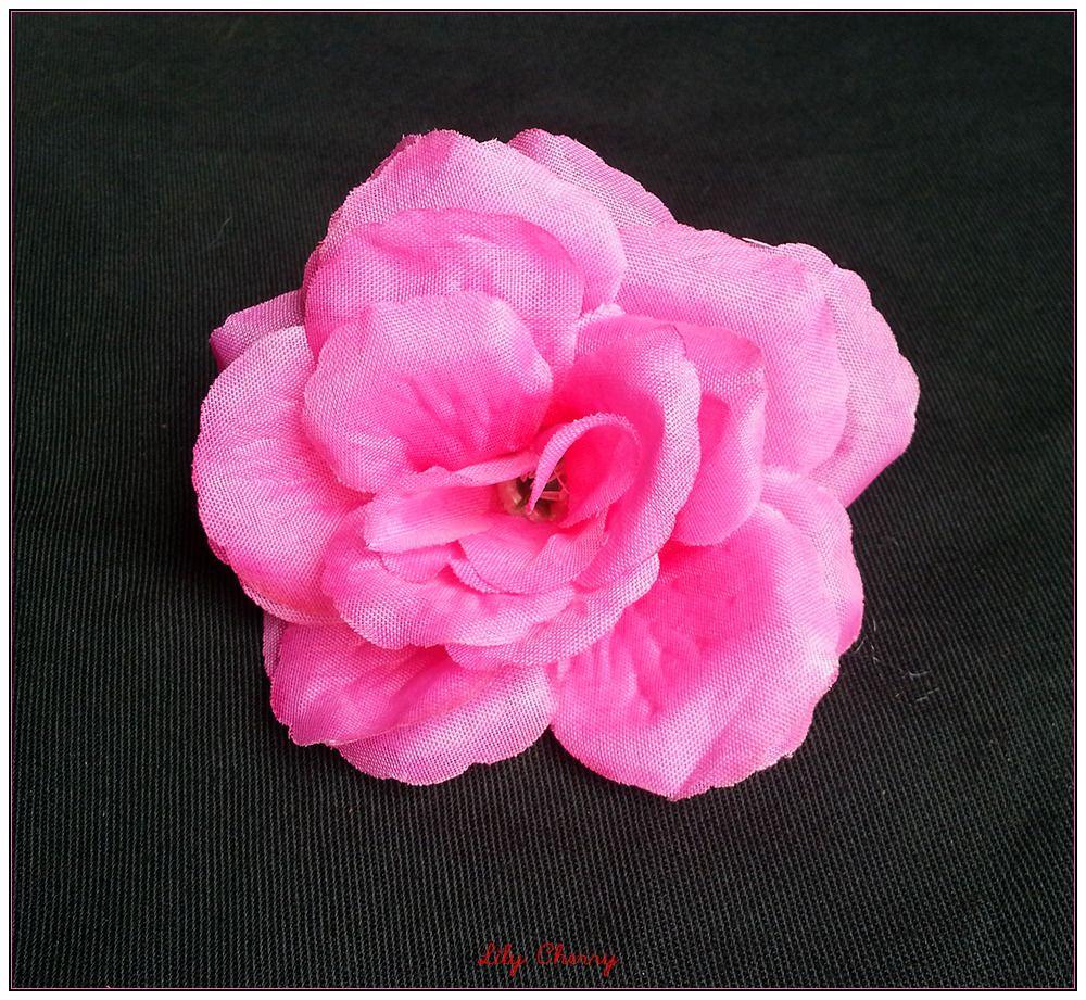 Fleur artificelle Rose couleur ROSE BONBON taille 8cm environ x1 : Décoration florale par lilycherry