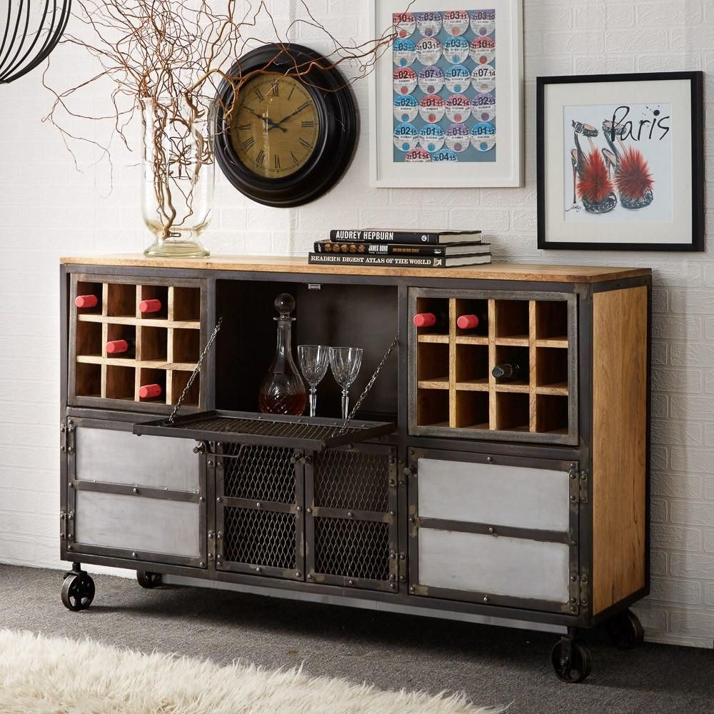 Instrument Industry Bar Cabinet Reclaimed Wood And Metal Amusing Dining Room Bar Furniture Design Inspiration