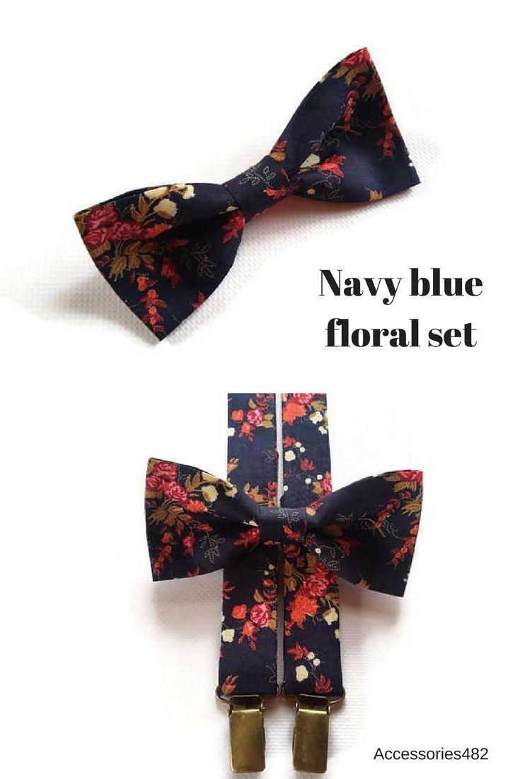 Maroon and blue wedding decor  Dark blue orange flowers bow tie and matching Yback suspender