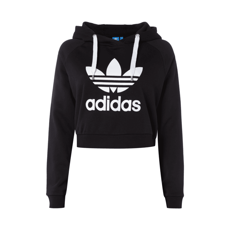 adidas originals crop hoodie mit logo print f r damen damen hoodie von adidas damen. Black Bedroom Furniture Sets. Home Design Ideas