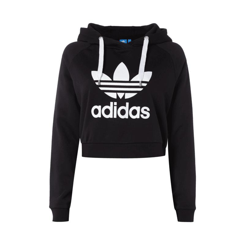 adidas originals crop hoodie mit logo print f r damen damen hoodie von adidas damen. Black Bedroom Furniture Sets. Home Design Ideas