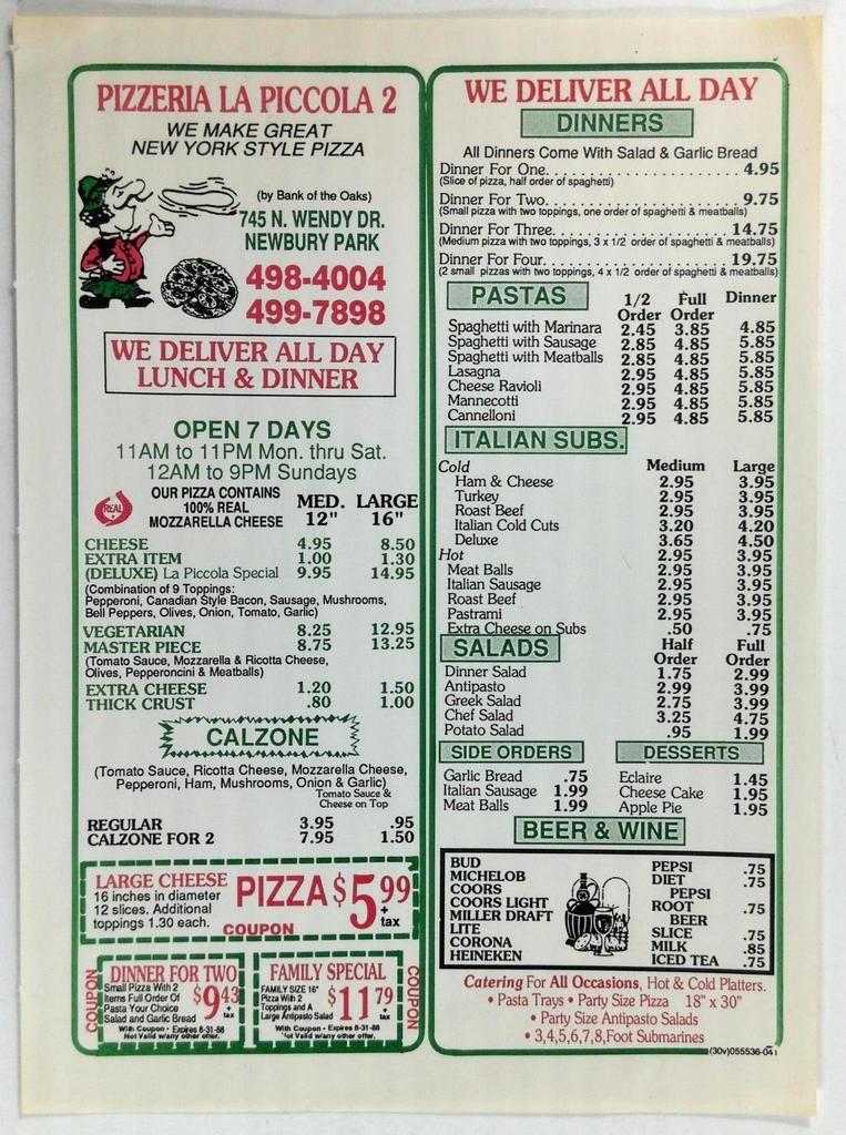 1988 PIZZERIA LA PICCOLA 2 Advert Mailer Menu Newbury Park