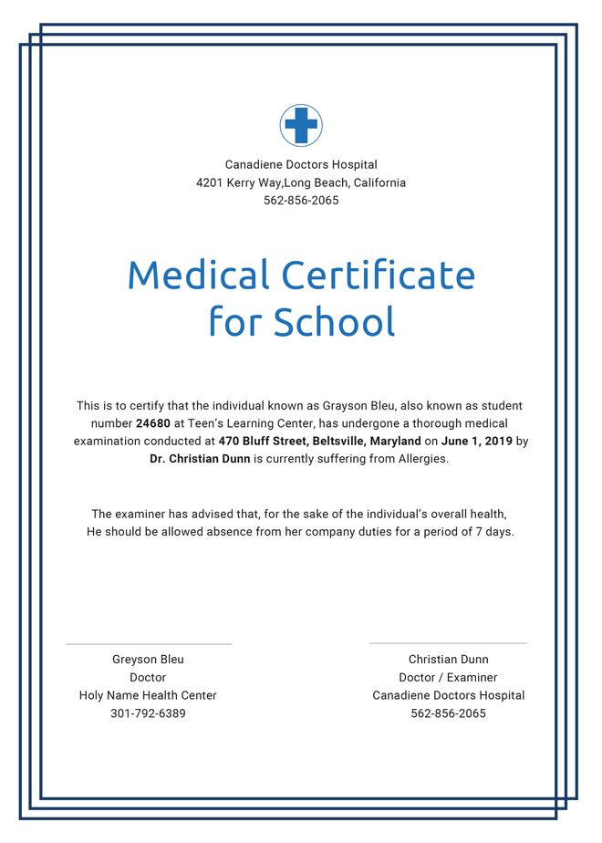 Medical Certificate For School Template Vbs Pinterest