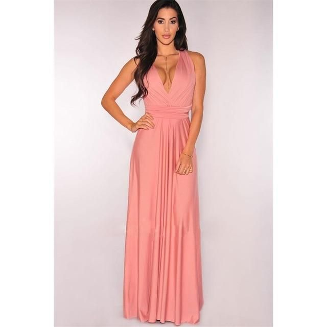 6a80e8d43d New Summer Sexy Women Maxi Dress Red Beach Long Dress Multiway Bridesmaids  Convertible Wrap Party Dresses