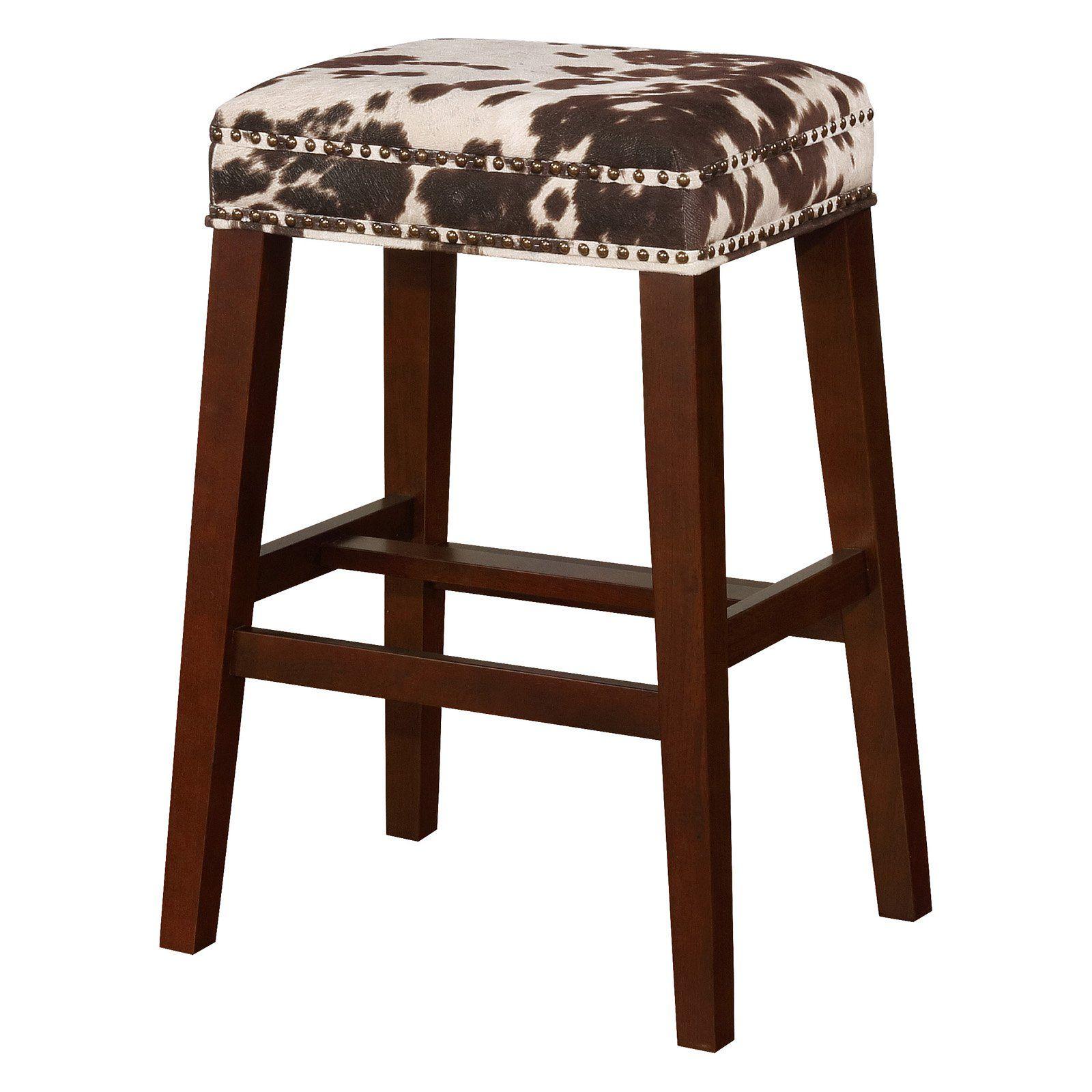 Incredible Linon Walt Cow Print Backless Bar Stool Brown In 2019 Creativecarmelina Interior Chair Design Creativecarmelinacom