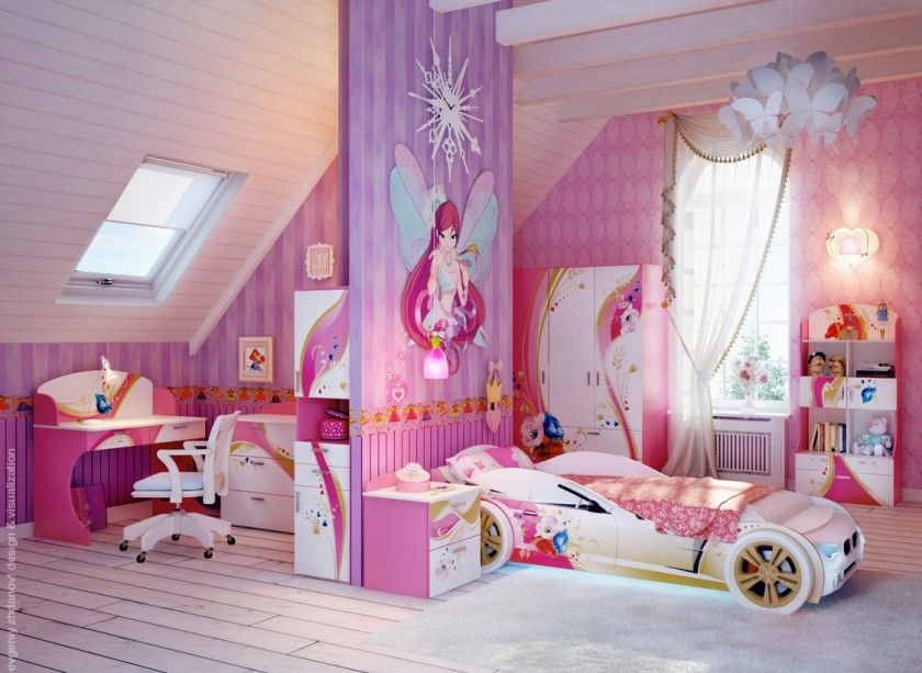 Cheerful Attic Pink And Purple Teenage Girls Bedroom Design With White Car Shaped Bed