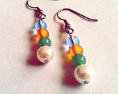 Blue, Yellow, Teal Glass Beads and White Pearl Beaded Earrings!