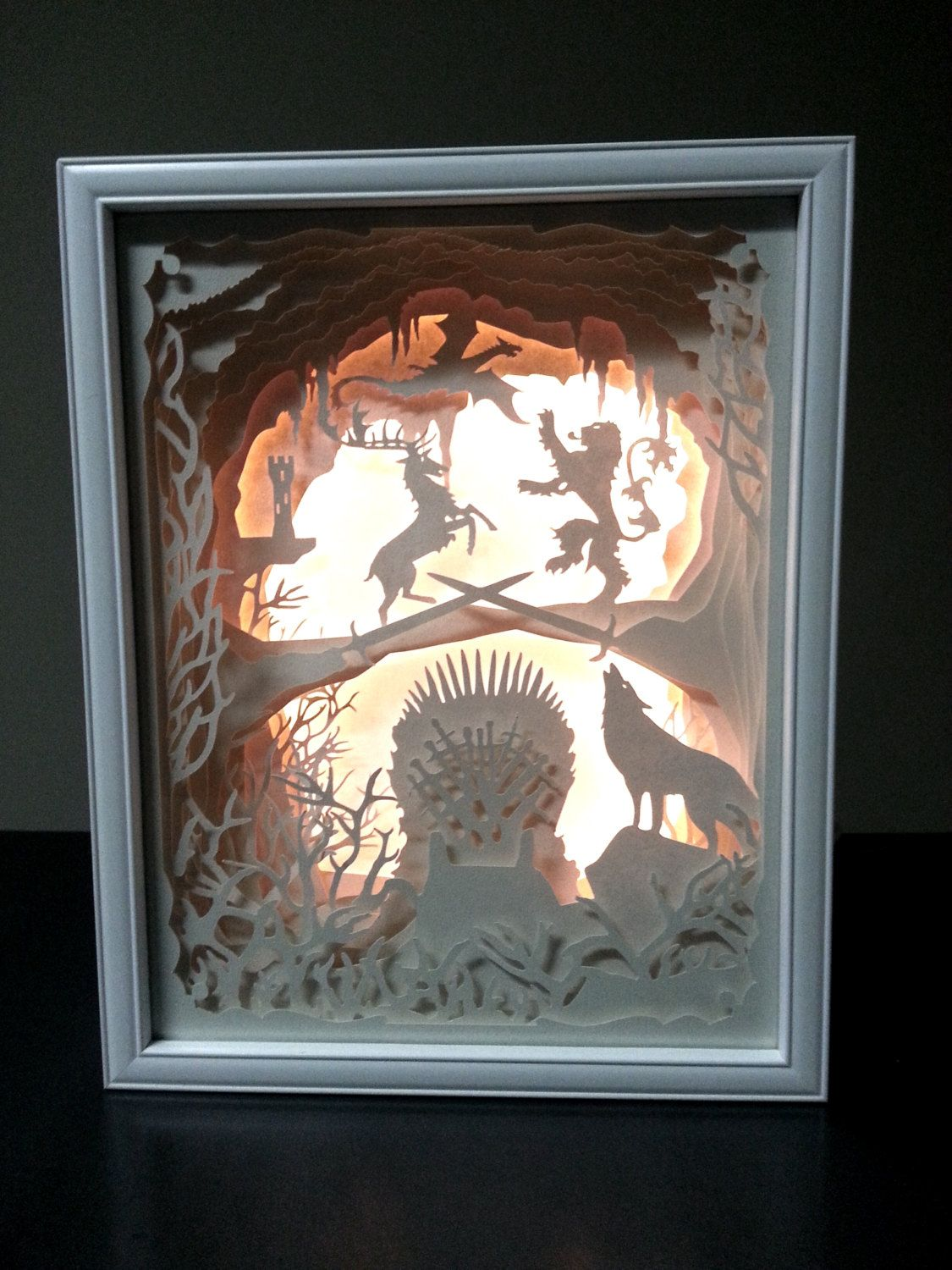 New Price Game Of Thrones Inspired Papercut Led Lighted White Shadow Box 15 X 12 X 2 75 Shadow Box Art White Shadow Box Shadow Box