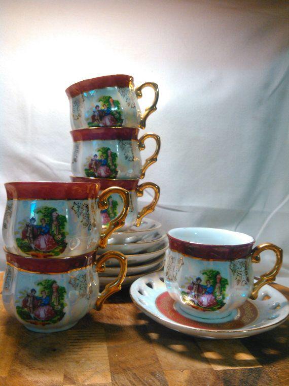 Vintage Imperial Japan Design Opal Lusterware By Auntkaysattic Tea