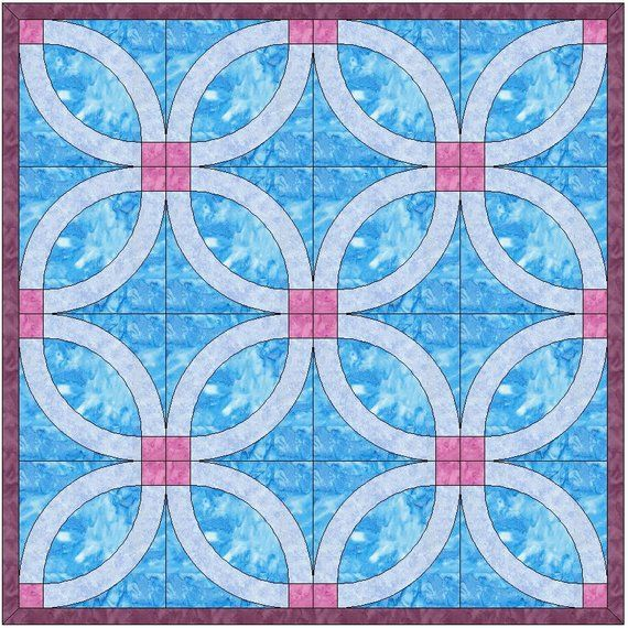 Simple Wedding Ring Quilt Template Quilting Block Pattern Pdf In
