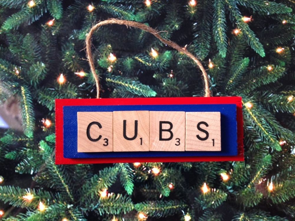 Chicago Cubs Scrabble Tiles Ornament Handmade Holiday Christmas Wood Baseball