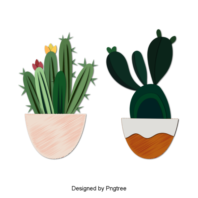Beautiful Cartoon Cute Hand Painted Plants Potted Cactus Flowers Beautiful Cartoon Lovely Png And Vector With Transparent Background For Free Download Painted Plant Pots Watercolor Plants Cactus Flowers