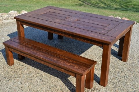 finished patio table iwth built in drink coolers and benches rh pinterest com au