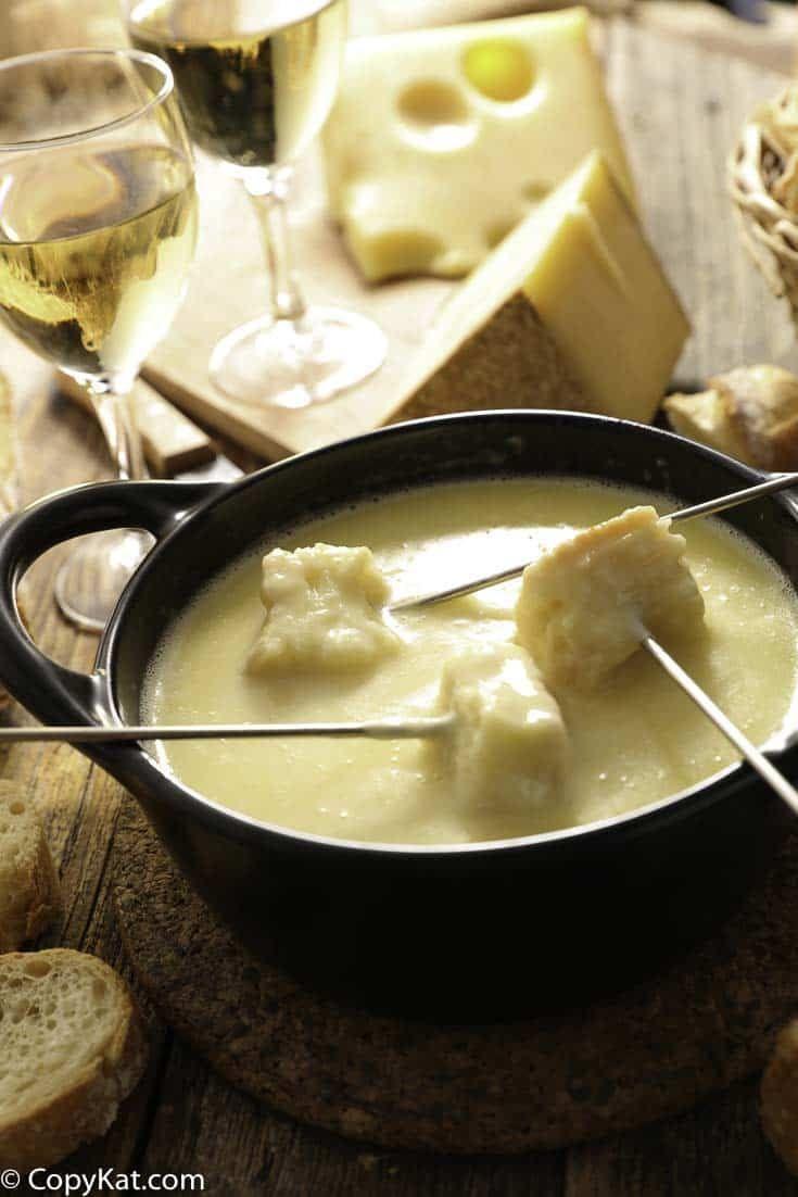 Enjoy the Melting Pot Swiss Fondue when you make it at home.