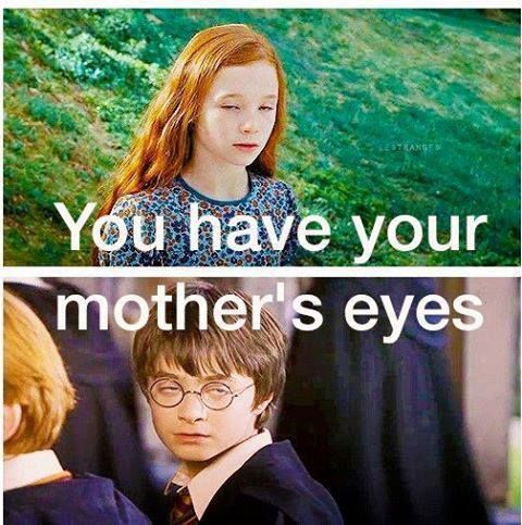 Aw Harry Does Have His Mother S Eyes Haha Lily Evans Potter Harry Potter Harry