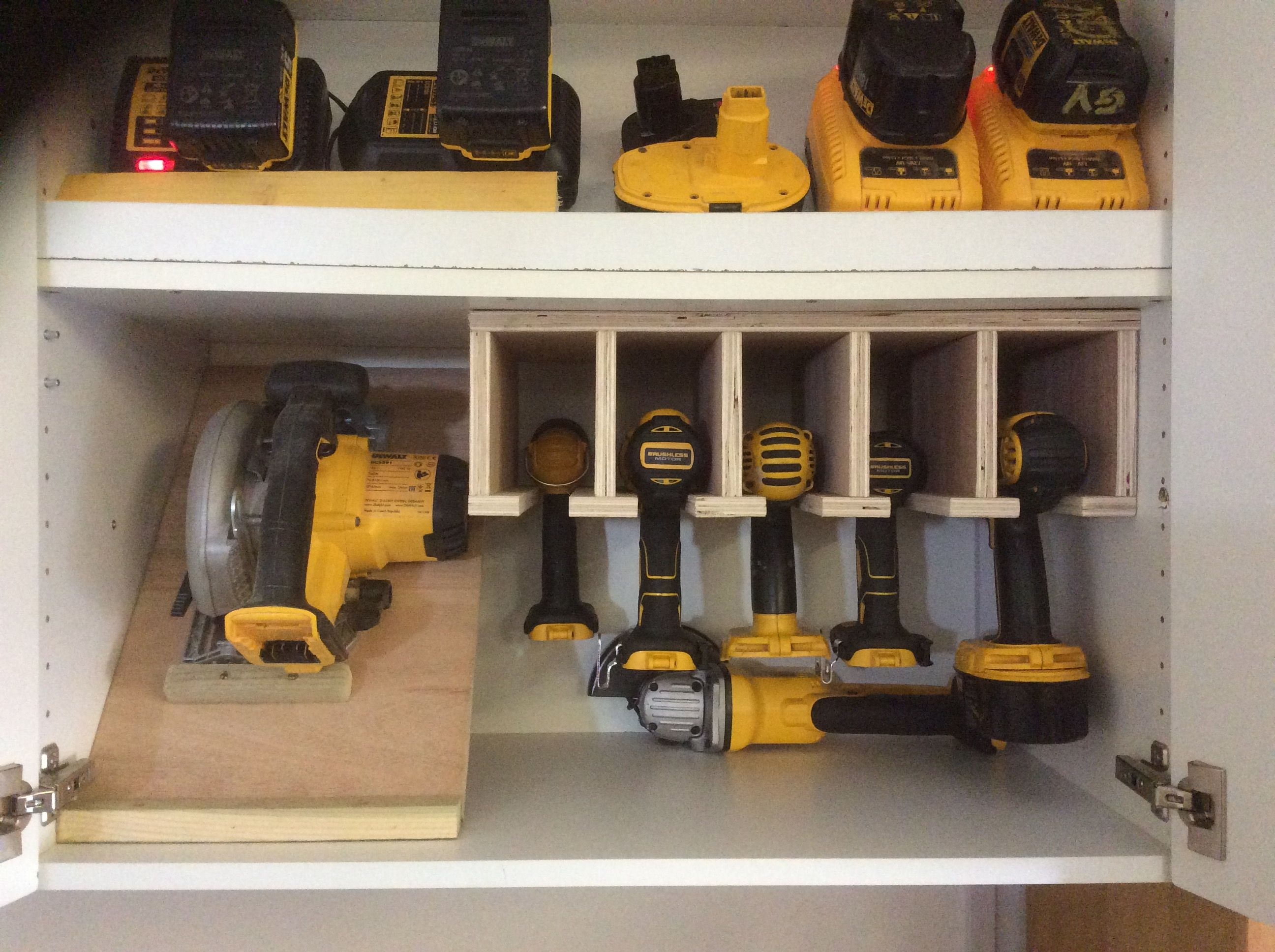 Power Tools And Chargers Inside Ikea Cabinet Tool Storage Cabinets Tool Wall Storage Diy Garage Storage