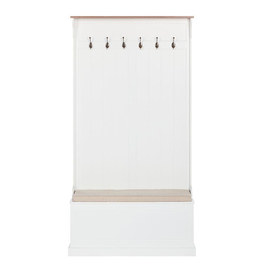 Garderobekast Clivia - met zitbank - wit - deels massief