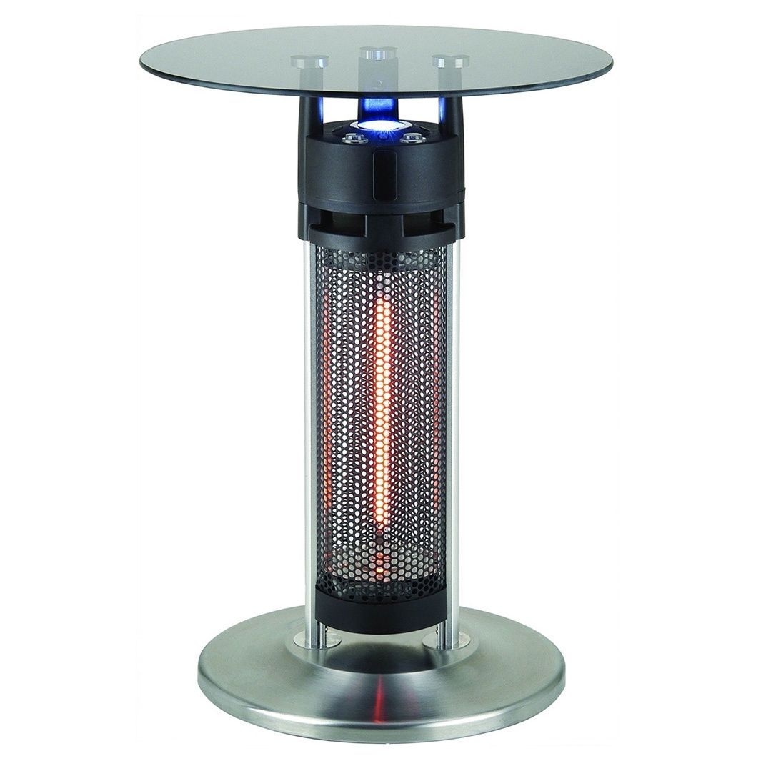 this bistro style electric heater table with led lights and tempered rh pinterest com