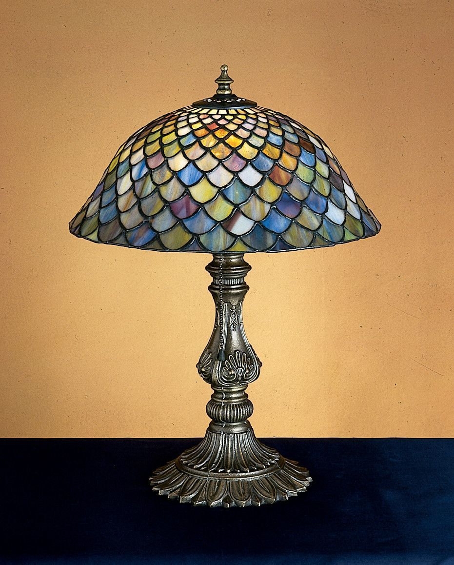 "Meyda 17""H Tiffany Fishscale Accent Lamp"