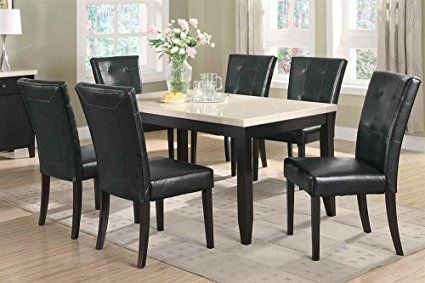 7 piece dining set faux marble top anisa collection coaster review rh pinterest com