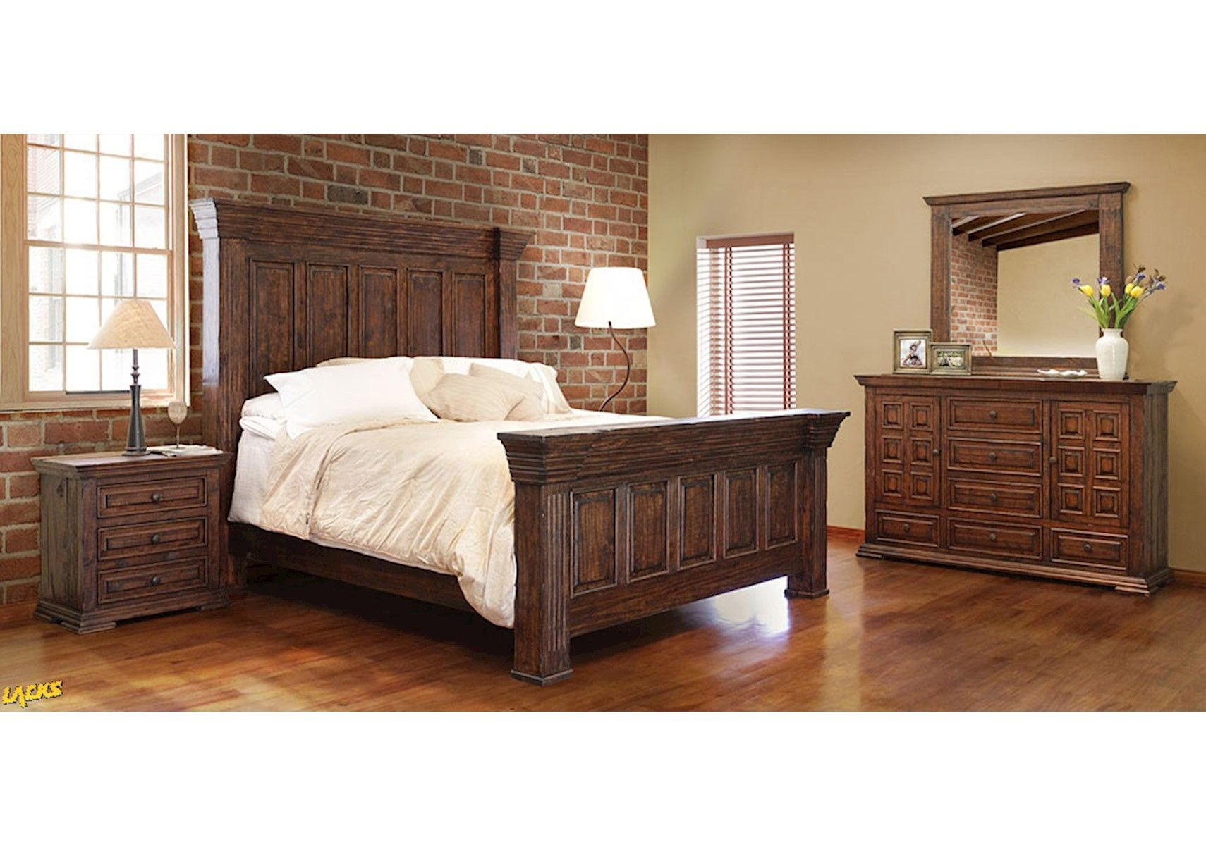 Lacks Terra Chestnut 4 Pc Queen Bedroom
