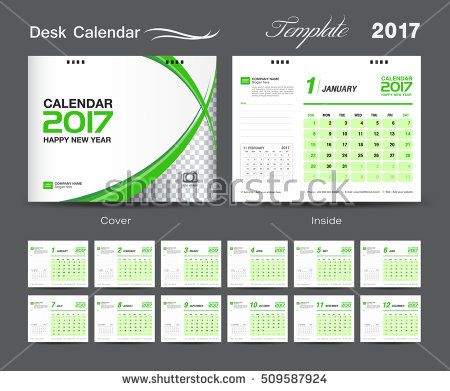 Set White And Green Desk Calendar  Template Design Cover Desk