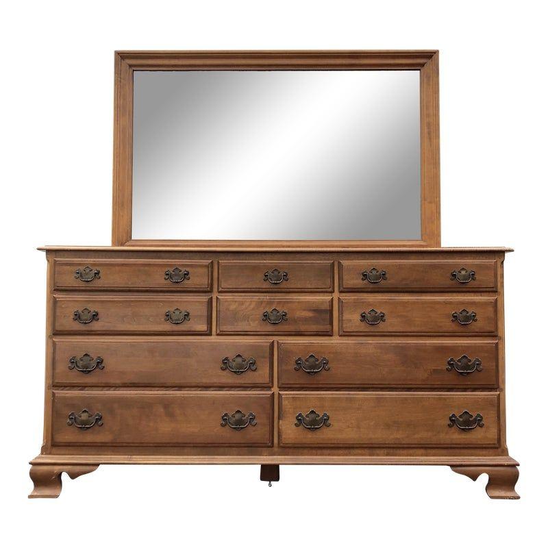 Solid Maple Ethan Allen Heirloom Dresser Mirror Dresser With