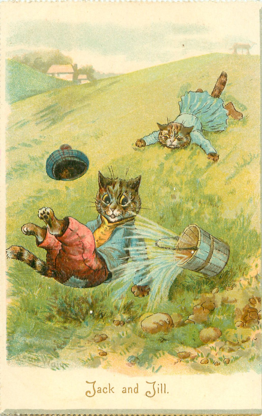 JACK AND JILL, by Louis Wain.Louis Wain est un artiste anglais connu pour ses dessins représentant des animaux anthropomorphes, et en particulier des chats. Le chat c'est lui. Il a créé un style de chat, une société de chats, tout un univers du chat