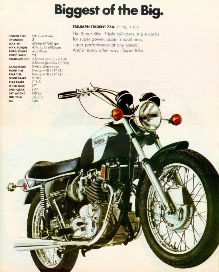 Triumph Trident 750 ad  | Retro/Vintage/Classic MOTO Advertising #2