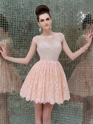 Wholesale Lovely Pink Short Homecoming Dress Scoop Neckline with Crystal