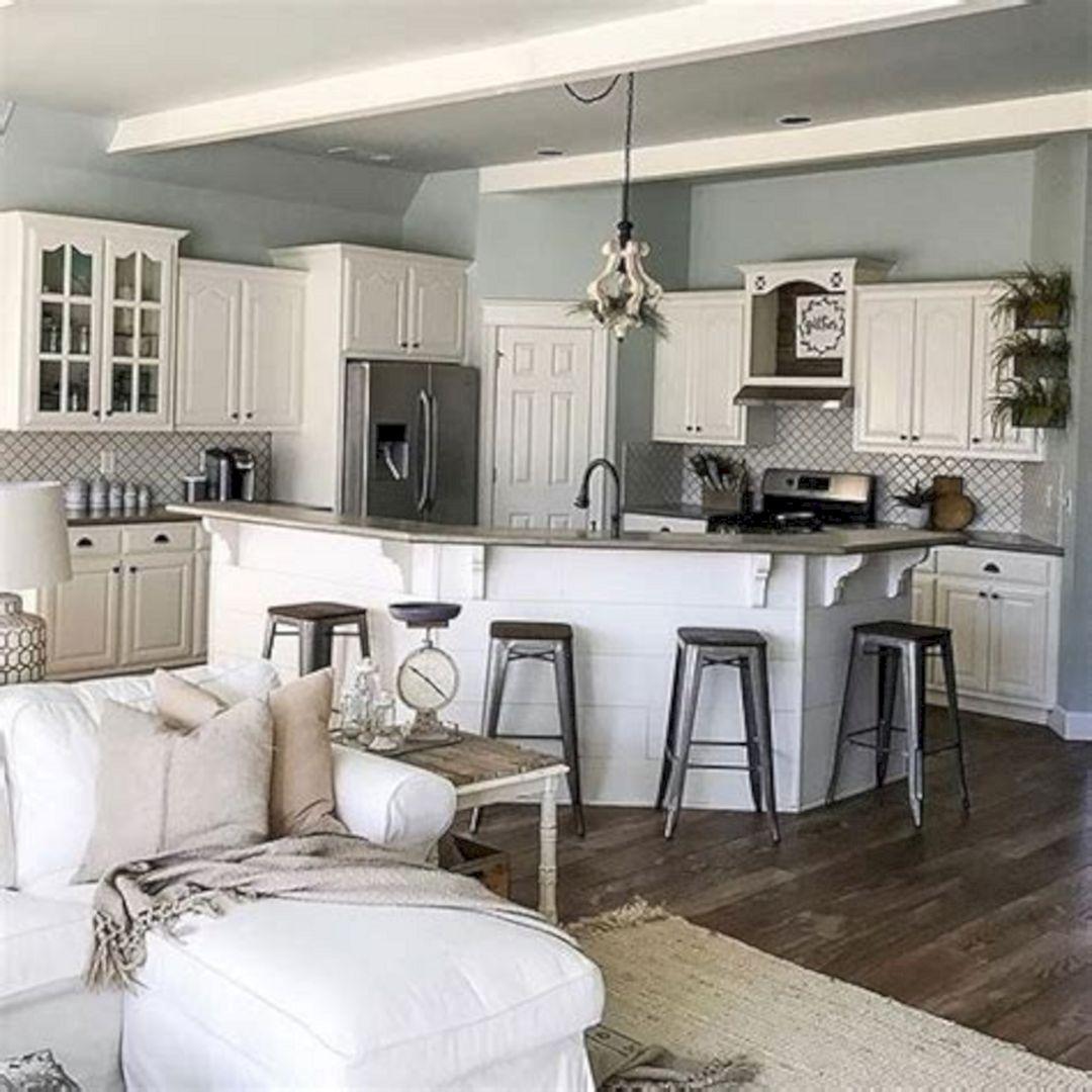 Brilliant 24 Awesome Farmhouse Kitchen Color Design