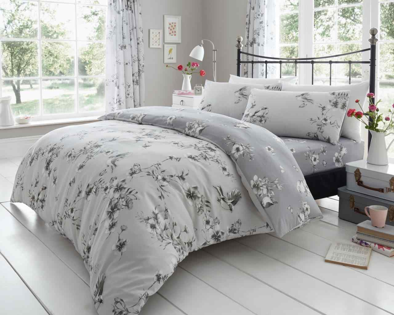 Birdie Blossom  Reversible Duvet //Quilt Cover Beddong Set in All Sizes