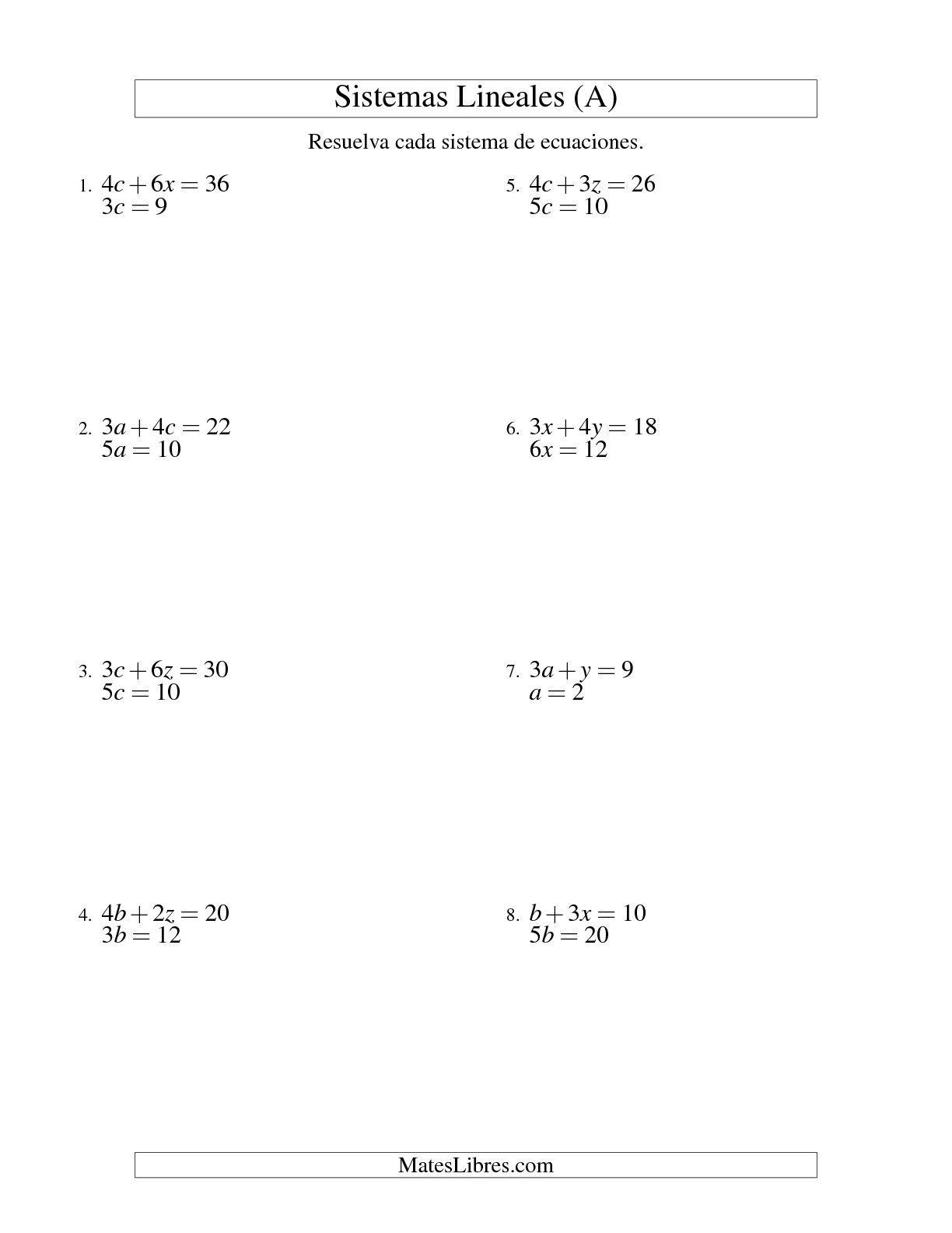 Resolver Sistemas De Ecuaciones Lineales Sencillos De Dos