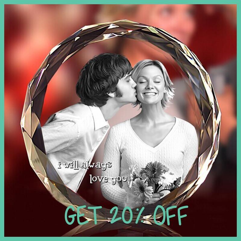 Laser Engraved DIY K9 Crystal Fotos Frame Round Family Wedding Photo ...