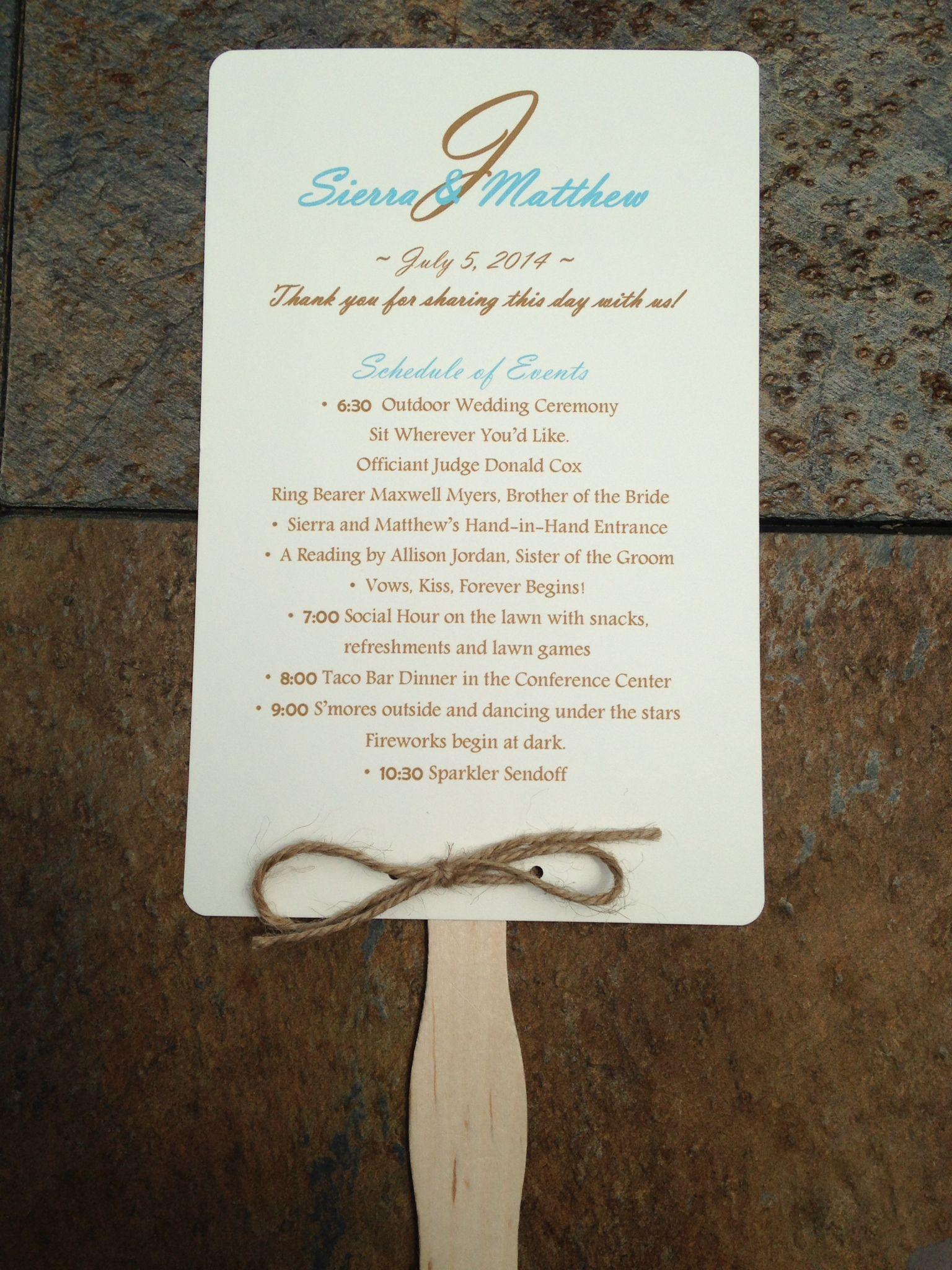 do you invite officiant to wedding reception%0A Wedding Program Schedule Fan