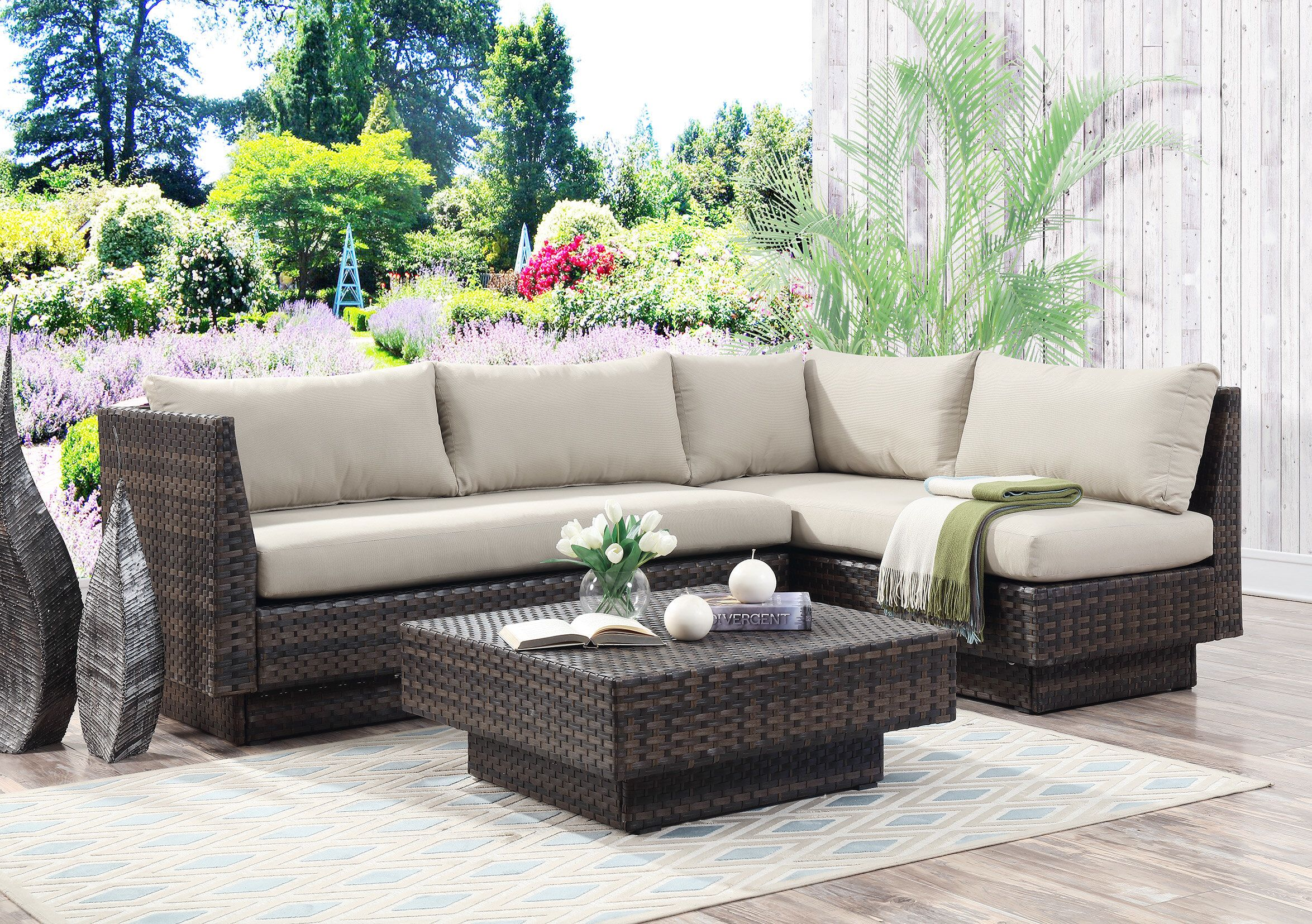 mulford outdoor 3 piece rattan sectional set with cushions srq rh pinterest com